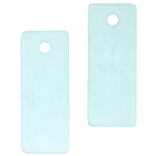 Cultured Sea Glass Bottle-Curved Rectangle Thin (2) - Turquoise Bay