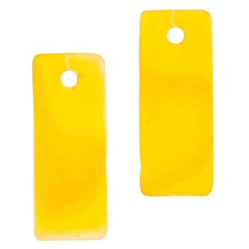 Cultured Sea Glass Bottle-Curved Rectangle Thin (2) - Saffron Yellow