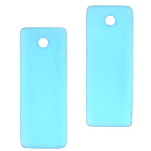 Cultured Sea Glass Pendant Bottle-Curved Rectangle Thin 35x14mm (2) - Teal