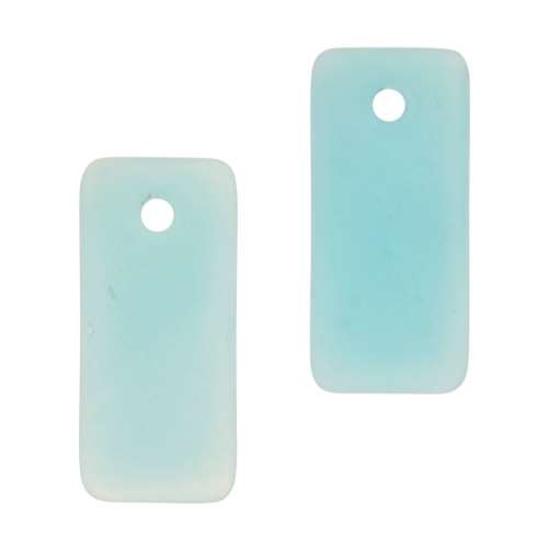 Cultured Sea Glass Pendant Bottle-Curved Rectangle Small (2) - Opaque Blue Opal