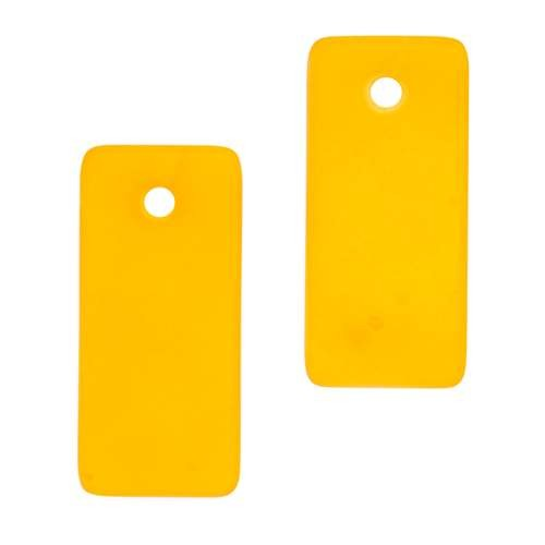 Cultured Sea Glass Pendant Bottle-Curved Rectangle Small (2) - Saffron Yellow