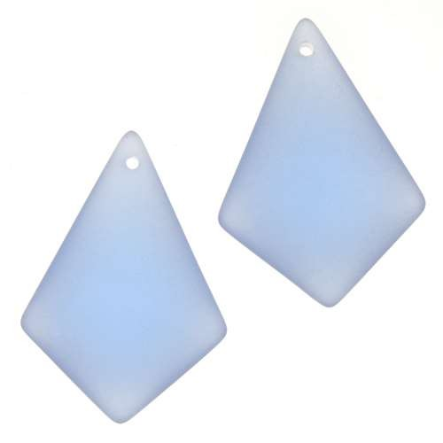 Cultured Sea Glass Pendant Diamond Small 28x20mm (2) - Light Sapphire