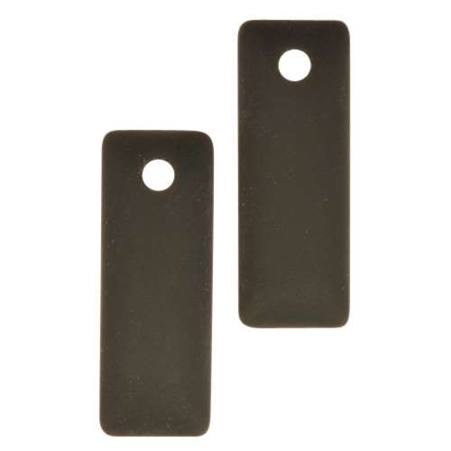 Cultured Sea Glass Pendant Rectangle Puffed 32x12mm (2) - Jet Black
