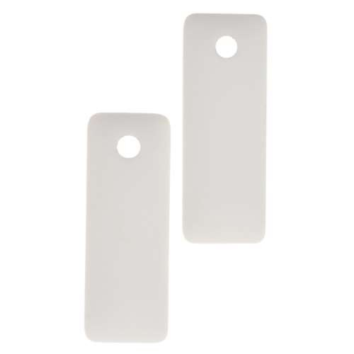 Cultured Sea Glass Pendant Rectangle Puffed 32x12mm (2) - Opaque White