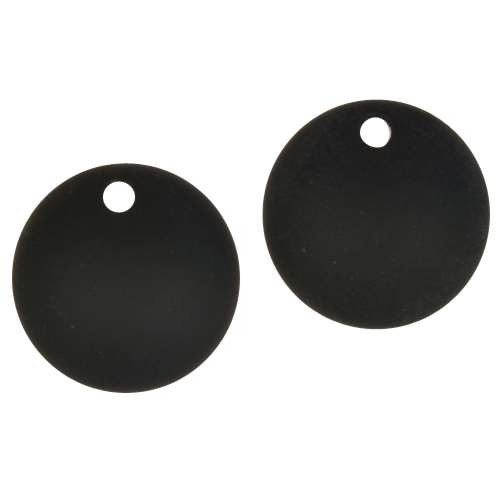 Cultured Sea Glass Pendant Coin Concave Small 18mm (2) - Jet Black