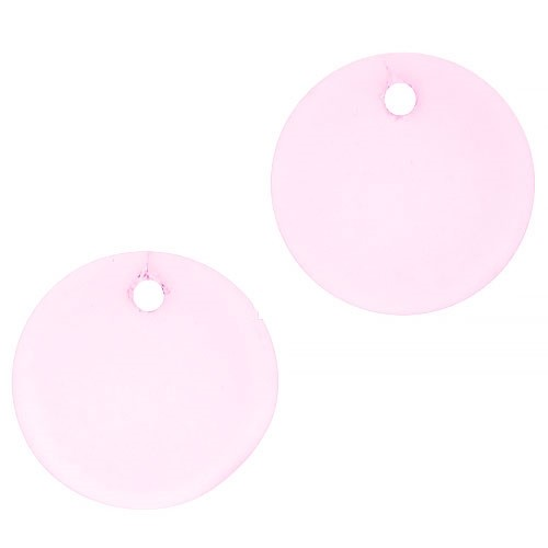 Cultured Sea Glass Pendant Coin Concave Small 18mm (2) - Blossom Pink