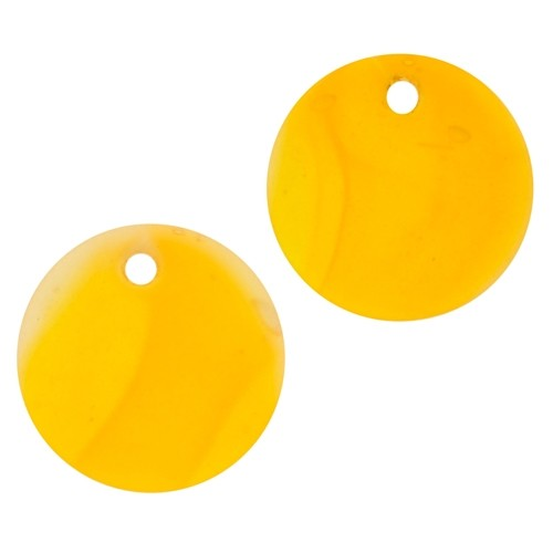 Cultured Sea Glass Pendant Coin Concave Small 18mm (2) - Saffron Yellow