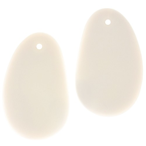 Cultured Sea Glass Pendant Freeform Hypnotic 33x20mm (2) - Opaque White