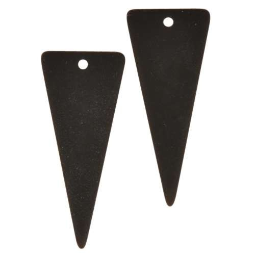 Cultured Sea Glass Pendant Triangle Large 37x15mm (2) - Jet Black