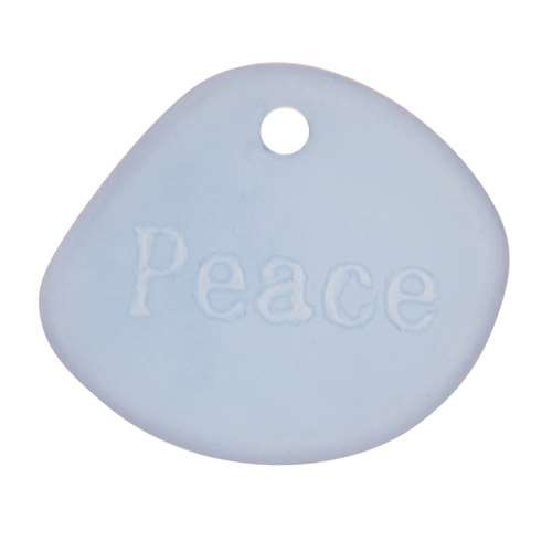 Cultured Sea Glass Pendant Inspiration Peace - Light Sapphire