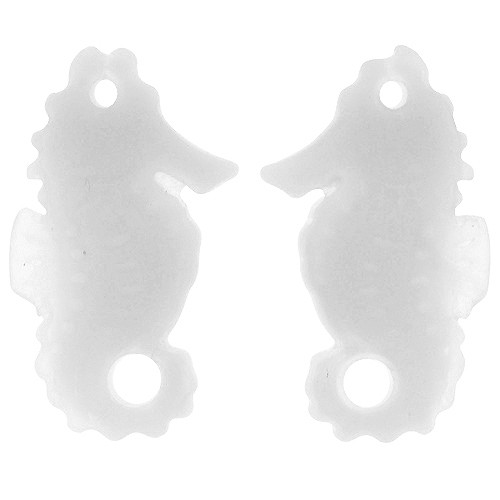 Cultured Sea Glass Drop Seahorse 29x11mm (2) - Opaque White