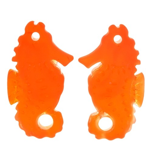 Cultured Sea Glass Drop Seahorse 29x11mm (2) - Tangerine