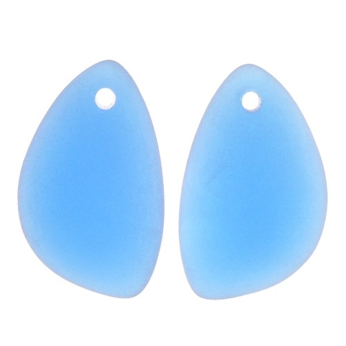 Cultured Sea Glass Drop Eclipse Baby Mirrored Pair 21x13mm (2) - Royal Blue