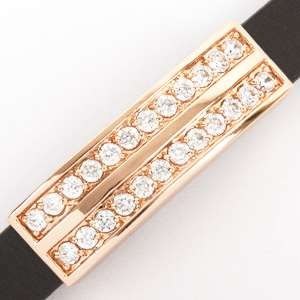 10mm Double Bar Pave Crystal Flat Leather Cord Slider - Rose Gold Plate