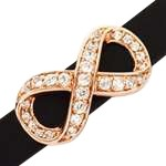 10mm Infinity Pave Crystal Flat Leather Cord Slider - Rose Gold Plate