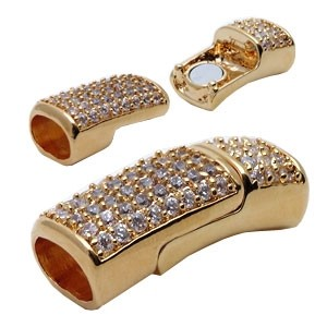Regaliz 10mm Oval Leather Cord Magnetic Clasp Pave Crystal Full Stone - Gold Plate