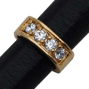 Regaliz Pave Crystal 10mm Oval Leather Cord Slider - Gold Plate