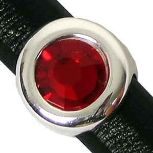 Regaliz Birthstone Button 10mm Oval Leather Cord Slider - July