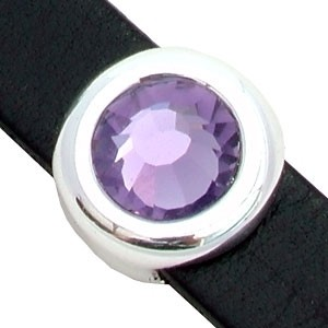 Regaliz Birthstone Button 10mm Oval Leather Cord Slider - June (Tanzanite)