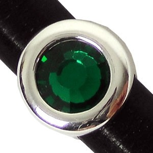 Regaliz Birthstone Button 10mm Oval Leather Cord Slider - May