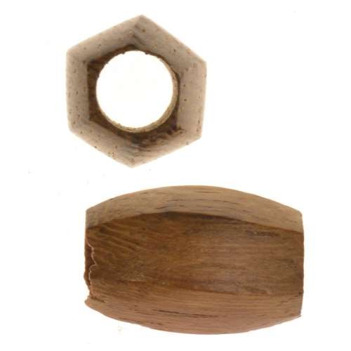 Robles Wood Slide Large Hole Tube Six-Sided 15x8mm - piece