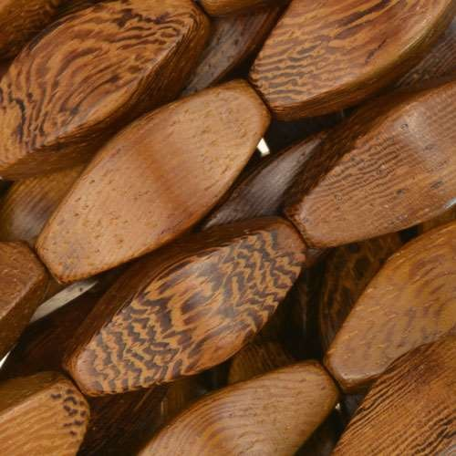 Robles Wood Bead 4 Sided Oval 10x22mm - strand
