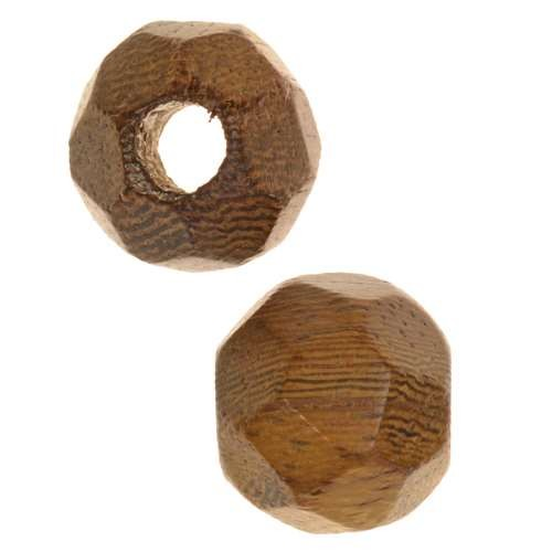 Robles Wood Slide Large Hole Round Faceted 15mm