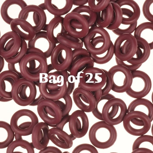 7.25mm Rubber O-Rings BAG of 25 - Burgundy