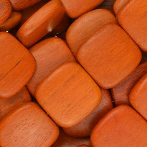 Redwood Bead Flat Square 16mm - strand