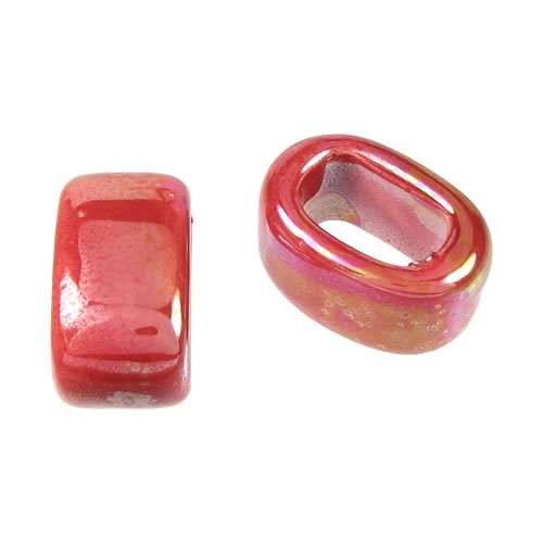 Regaliz 15mm OVAL ceramic bead RED