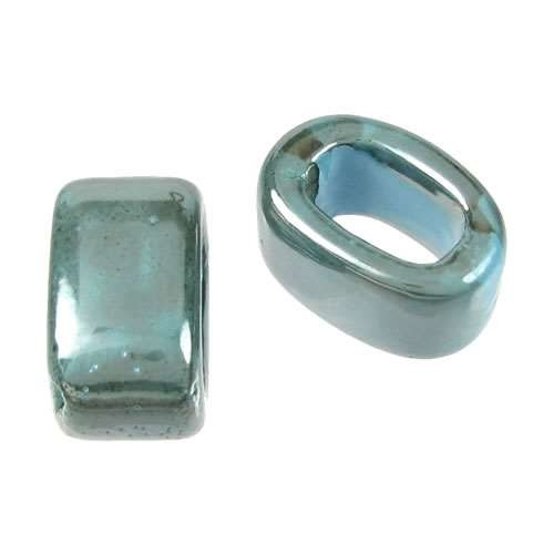 Regaliz 15mm OVAL ceramic bead TURQUOISE:GREY