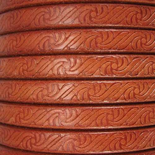 Regaliz Embossed 10mm Oval Leather Cord - Tan