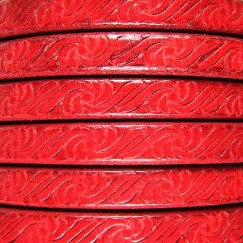 Regaliz Embossed 10mm Oval Leather Cord - Red - per inch