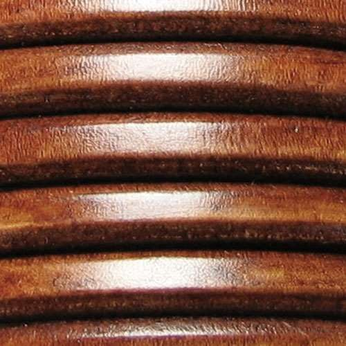 Regaliz 10mm Oval Leather Cord - Distressed Whiskey - per METER