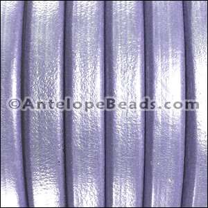 Regaliz 10mm Oval Leather Cord - Metallic Lilac