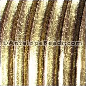 Regaliz 10mm Oval Leather Cord - Metallic Gold Brown - per METER