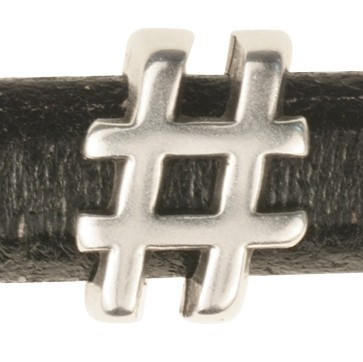 "Regaliz Symbol ""Hash Tag"" / Number Sign 10mm Oval Leather Cord Slider - Antique Silver"