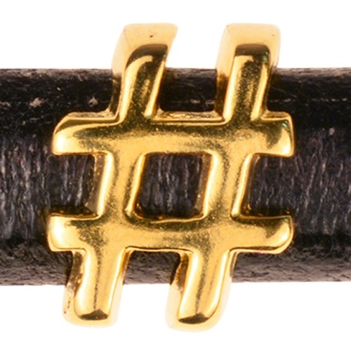 "Regaliz Symbol ""Hash Tag"" / Number Sign 10mm Oval Leather Cord Slider - Gold"