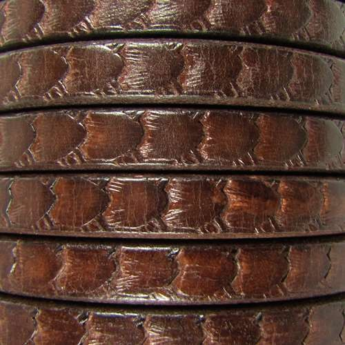 Regaliz Scales 10mm Oval Leather Cord - Brown
