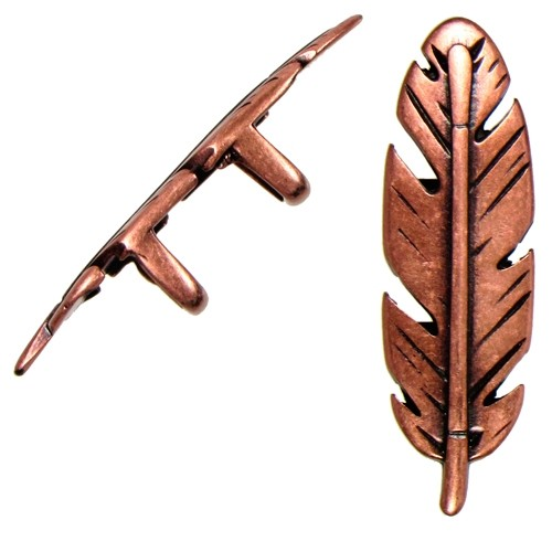 Regaliz Feather 10mm Oval Leather Cord Slider - Antique Copper
