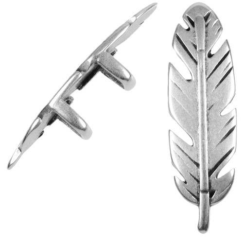 Regaliz Feather 10mm Oval Leather Cord Slider - Antique Silver