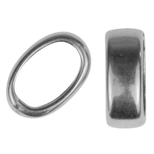 Regaliz Slice Ring 10mm Oval Leather Cord Slider - Antique Silver