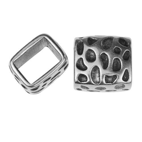 Regaliz Leopard Cube 10mm Oval Leather Cord Slider - Antique Silver