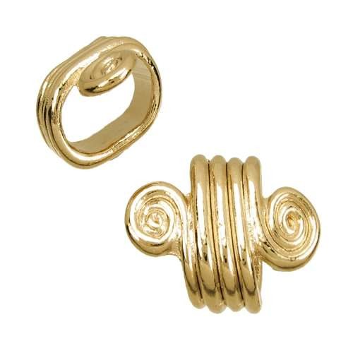 Regaliz Spiral Dots 10mm Oval Leather Cord Slider - Gold Plated