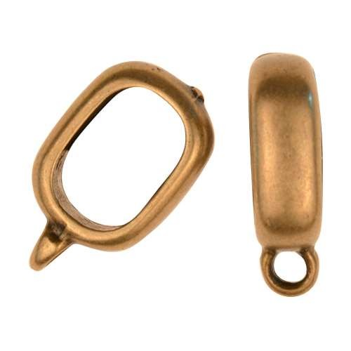 Regaliz Smooth Charm Holder 10mm Oval Leather Cord Slider - Antique Brass