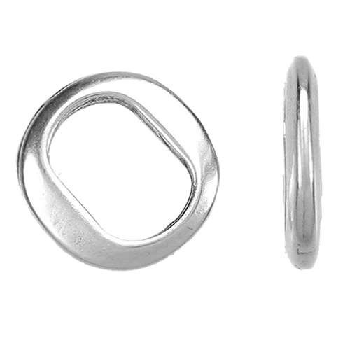 Regaliz Thin Ring 10mm Oval Leather Cord Slider - Antique Silver