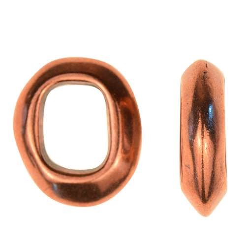 Regaliz Oval Ring 10mm Oval Leather Cord Slider - Antique Copper