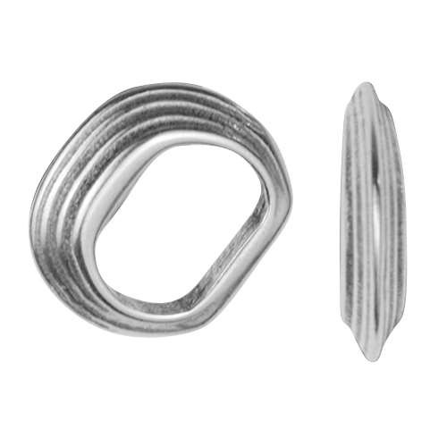 Regaliz Stacked Ring 10mm Oval Leather Cord Slider - Antique Silver