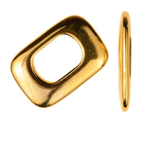 Regaliz Thin Square 10mm Oval Leather Cord Slider - Gold Plate