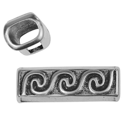 Regaliz Wave 10mm Oval Leather Cord Slider - Antique Silver